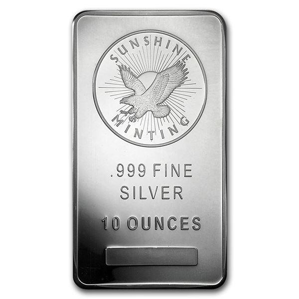 10 oz Silver Bar - Sunshine (MintMark SI)