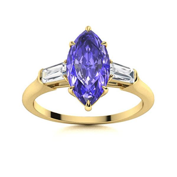 Natural 1.82 CTW Tanzanite & Diamond Engagement Ring 18K Yellow Gold