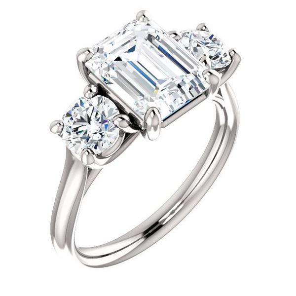 Natural 2.72 CTW 3-Stone Emerald Cut & Round Diamond Engagement Ring 14KT White Gold