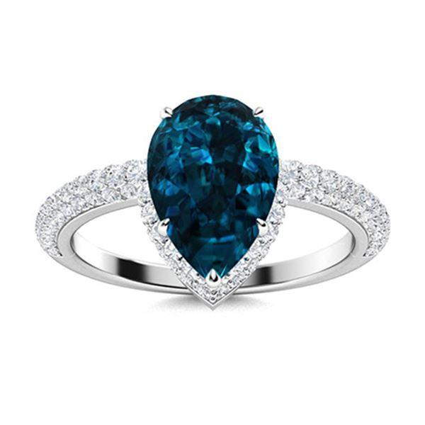 Natural 3.71 CTW Topaz & Diamond Engagement Ring 14K White Gold