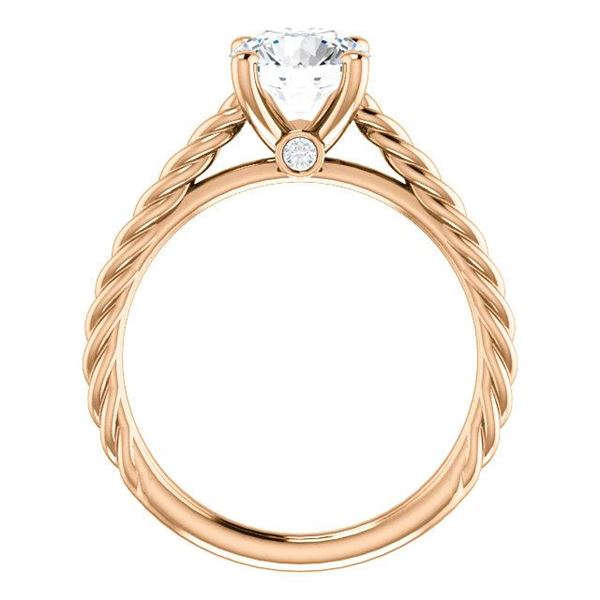 Natural 2.12 CTW Round Cut Rope Design Diamond Engagement Set 18KT Rose Gold
