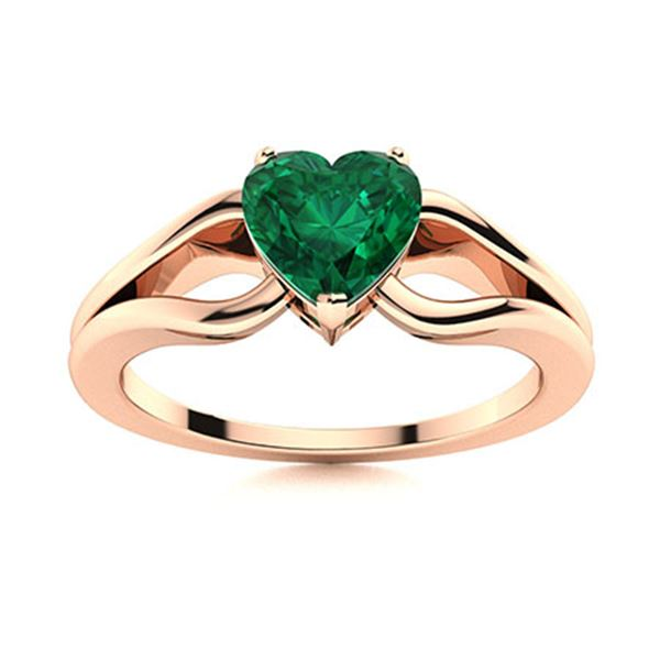 Natural 0.44 CTW Emerald Solitaire Ring 18K Rose Gold