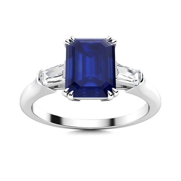 Natural 1.77 CTW Sapphire & Diamond Engagement Ring 14K White Gold