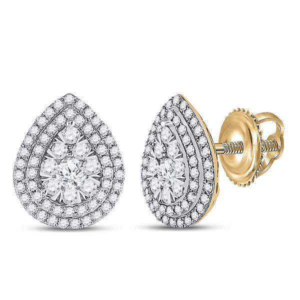 14kt Yellow Gold Womens Round Diamond Pear-shape Cluster Earrings 1 Cttw