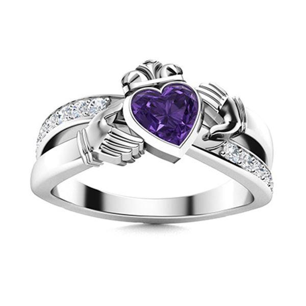 Natural 0.67 CTW Amethyst & Diamond Engagement Ring 14K White Gold