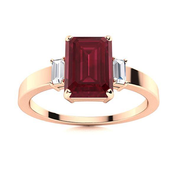 Natural 1.63 CTW Ruby & Diamond Engagement Ring 18K Rose Gold