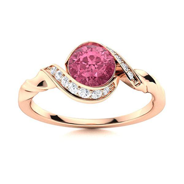 Natural 0.54 CTW Tourmaline & Diamond Engagement Ring 14K Rose Gold