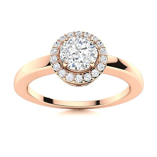 Natural 0.58 CTW Diamond Solitaire Ring 18K Rose Gold