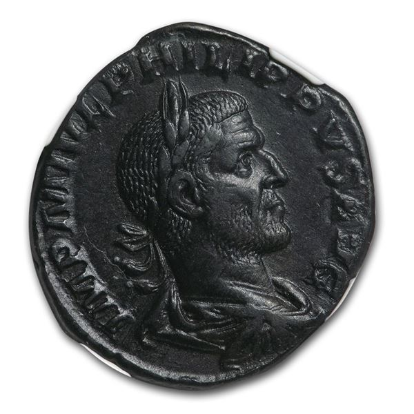 Rome Sestertius Emp. Phillip I (244-249 AD) Ch XF NGC Fine Style