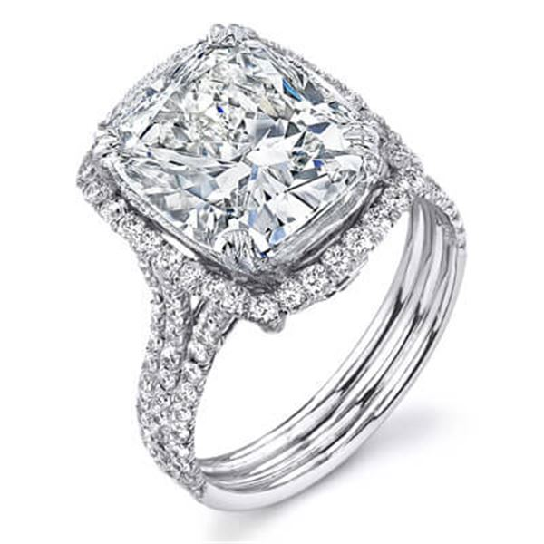 Natural 4.02 CTW Elongated Cushion Cut Halo Diamond Engagement Ring 18KT White Gold