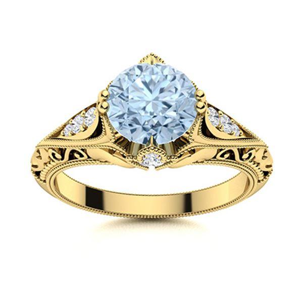 Natural 1.84 CTW Aquamarine & Diamond  Engagement Ring 18K Yellow Gold