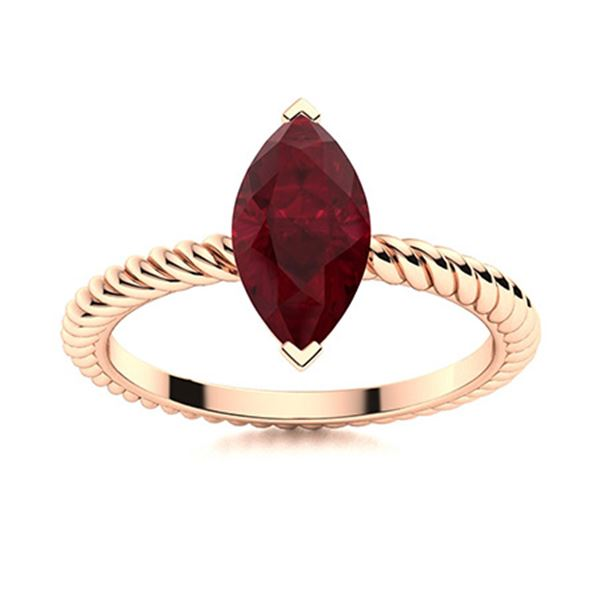 Natural 1.96 CTW Ruby Solitaire Ring 18K Rose Gold
