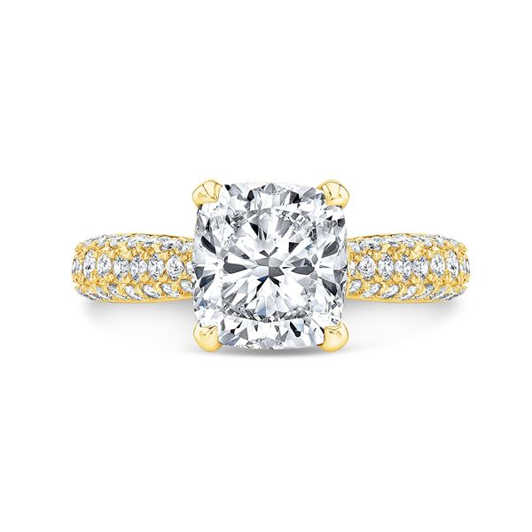 Natural 3.32 CTW Cushion Cut Micro Pave Diamond Engagement Ring 14KT Yellow Gold
