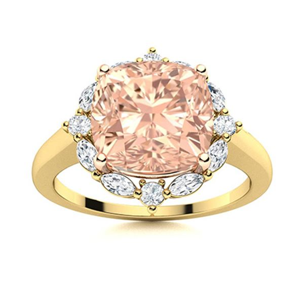 Natural 3.41 CTW Morganite & Diamond Engagement Ring 18K Yellow Gold