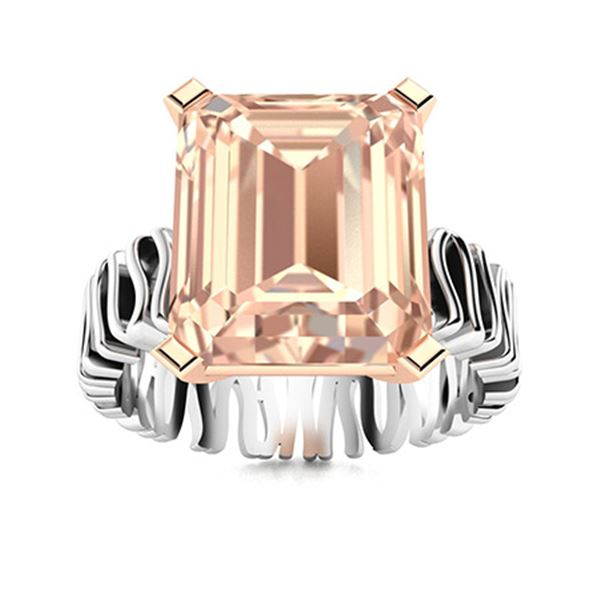 Natural 3.14 CTW Morganite Solitaire Ring 18K White Gold