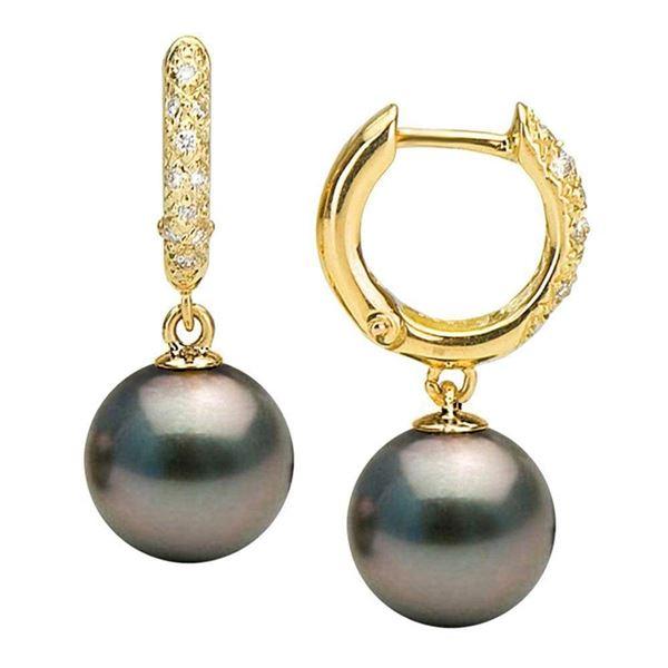 Black Tahitian Pearl and Large Diamond Pave Hoop Earrings
