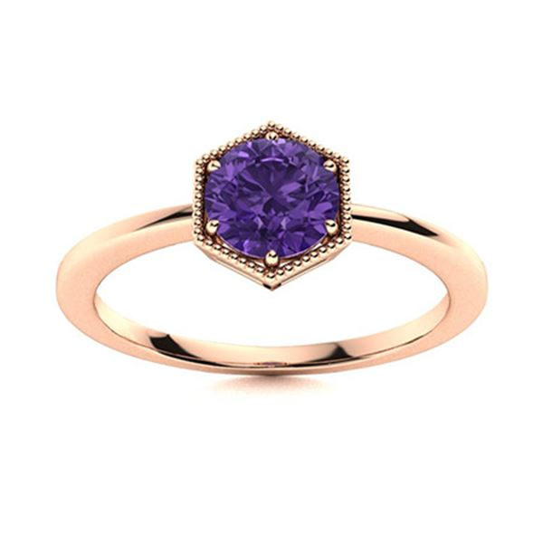 Natural 1.22 CTW Amethyst Solitaire Ring 18K Rose Gold
