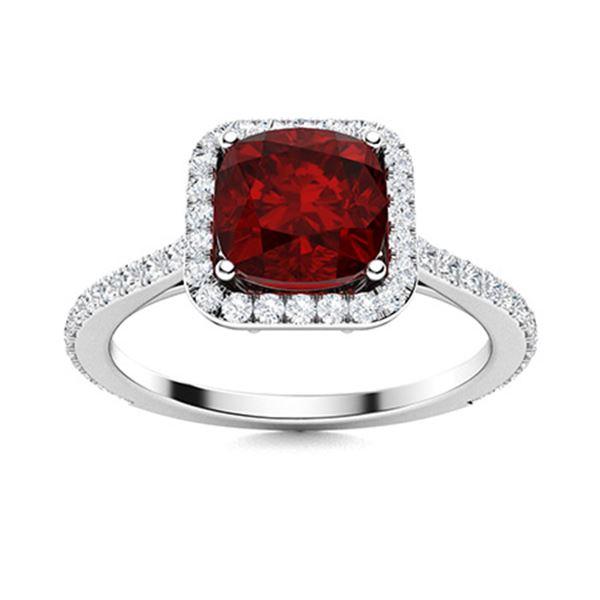 Natural 1.16 CTW Garnet & Diamond Engagement Ring 14K White Gold