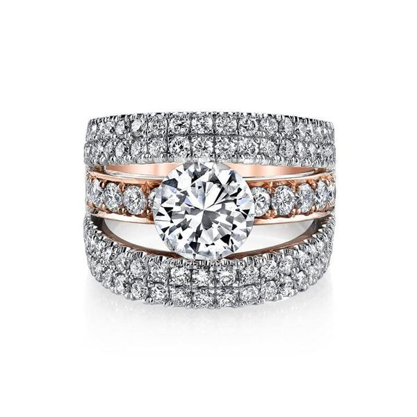Natural 3.32 CTW Round Cut Pave Set Split Shank Engagement Ring 14KT Two Tone