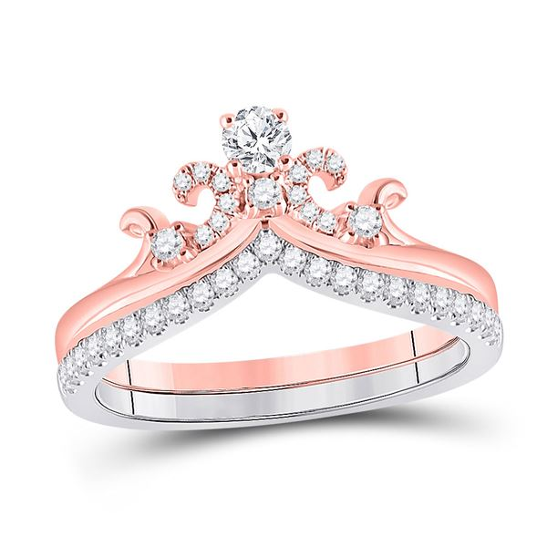 14kt Two-tone Gold Round Diamond Crown Tiara Bridal Wedding Ring Band Set 1/2 Cttw