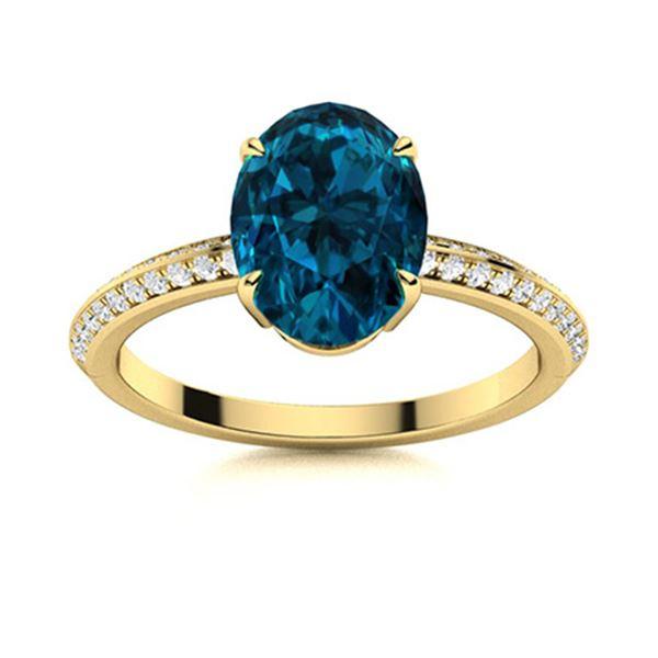 Natural 5.54 CTW Topaz & Diamond  Engagement Ring 18K Yellow Gold
