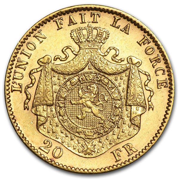 Belgium Gold 20 Francs Leopold II Avg Circ (Random)