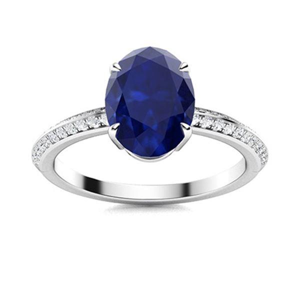 Natural 2.19 CTW Sapphire & Diamond Engagement Ring 18K White Gold
