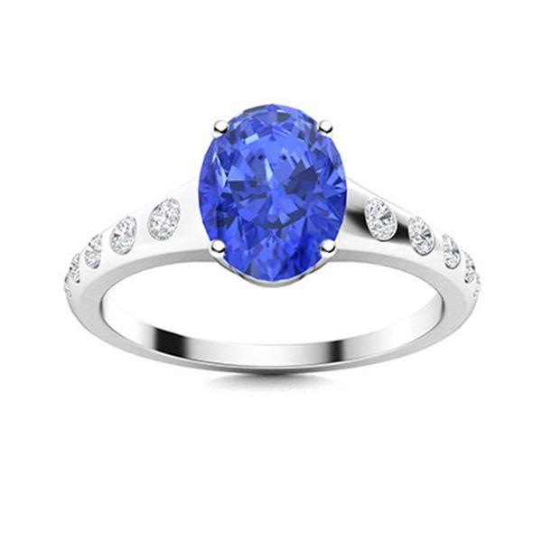 Natural 1.12 CTW Ceylon Sapphire & Diamond Engagement Ring 18K White Gold