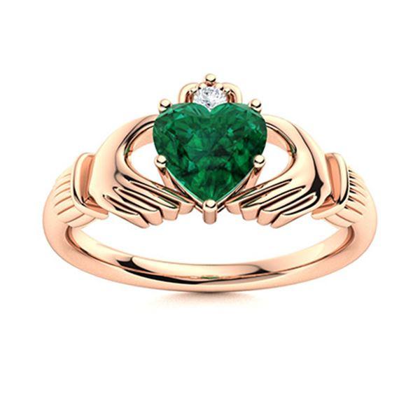 Natural 1.54 CTW Emerald & Diamond Engagement Ring 18K Rose Gold