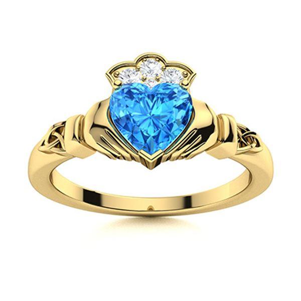 Natural 1.64 CTW Topaz & Diamond Engagement Ring 18K Yellow Gold