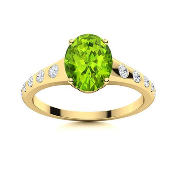 Natural 2.37 CTW Peridot & Diamond Engagement Ring 14K Yellow Gold