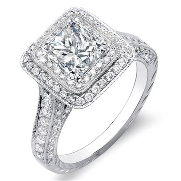 Natural 2.32 CTW Princess Cut Double Halo Diamond Engagement Ring 18KT White Gold