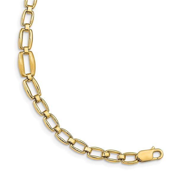 14k Yellow Gold Brushed & Polished Link Bracelet - 7 in.