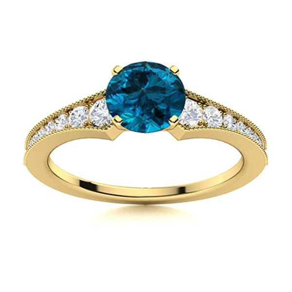 Natural 0.85 CTW Topaz & Diamond Engagement Ring 14K Yellow Gold