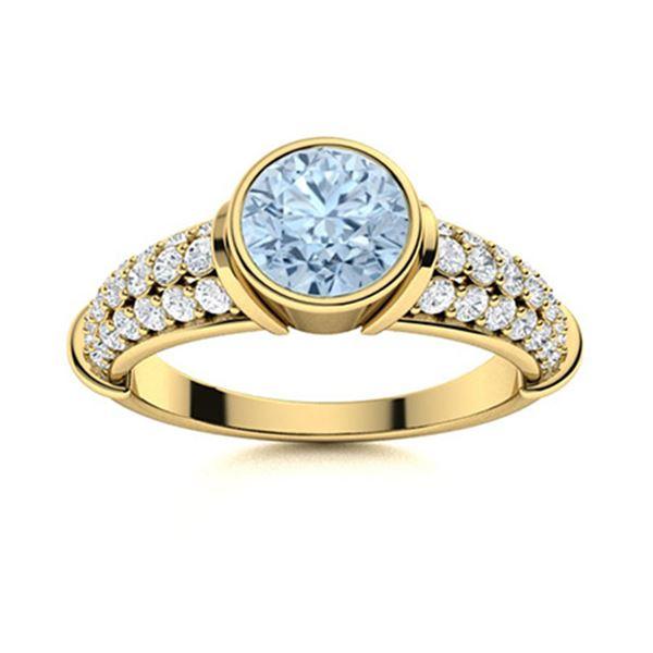 Natural 1.97 CTW Aquamarine & Diamond Engagement Ring 18K Yellow Gold