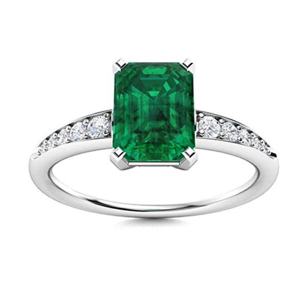 Natural 0.99 CTW Emerald & Diamond Engagement Ring 18K White Gold