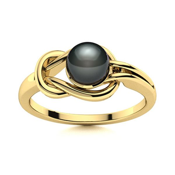 Natural 0.76 CTW Pearl Solitaire Ring 14K Yellow Gold