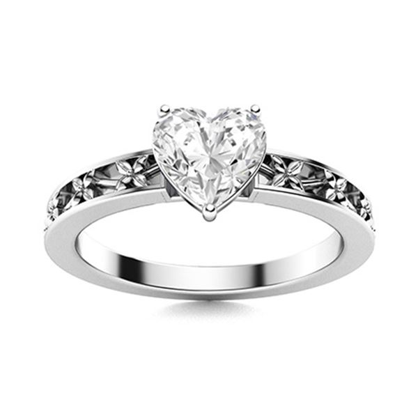 Natural 0.90 CTW Topaz Solitaire Ring 18K White Gold