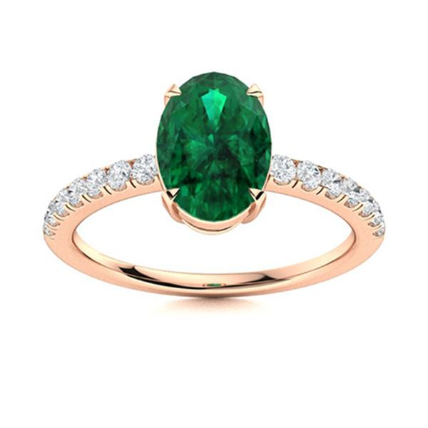 Natural 1.94 CTW Emerald & Diamond Engagement Ring 18K Rose Gold