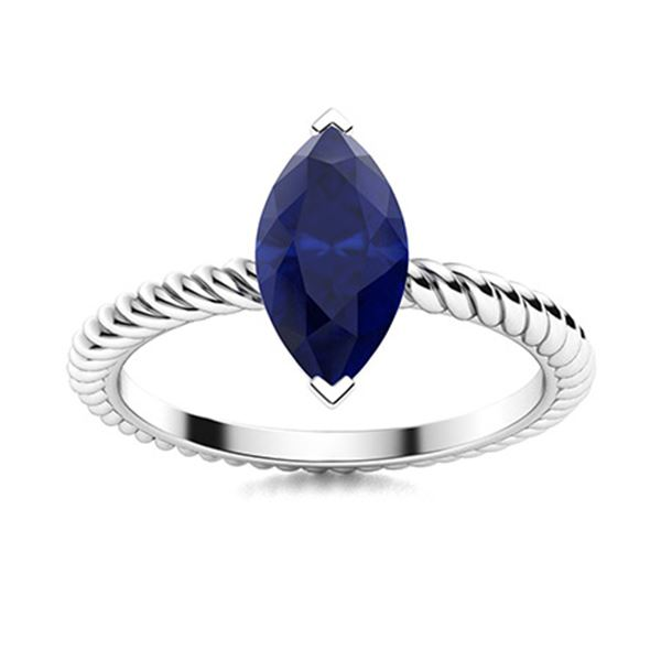 Natural 1.95 CTW Sapphire Solitaire Ring 14K White Gold