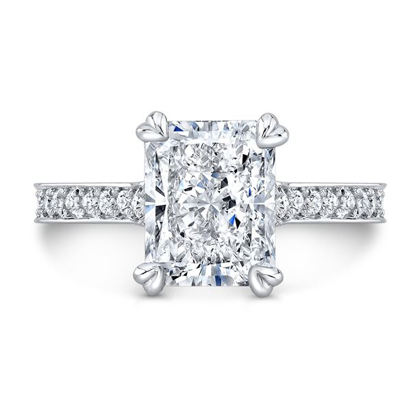 Natural 2.62 CTW Art-Deco Radiant Cut Diamond Ring 18KT White Gold