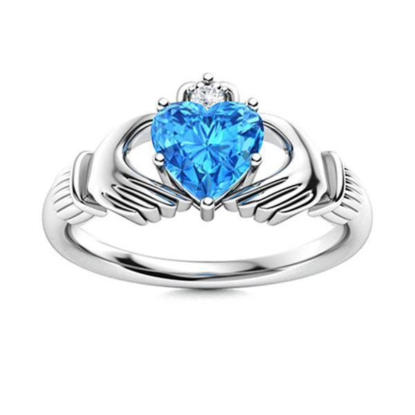 Natural 0.54 CTW Topaz & Diamond  Engagement Ring 18K White Gold