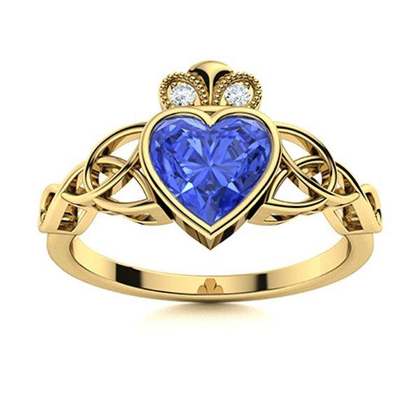 Natural 0.60 CTW Ceylon Sapphire & Diamond Engagement Ring 14K Yellow Gold