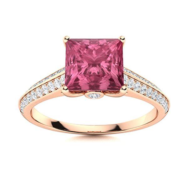 Natural 0.91 CTW Tourmaline & Diamond Engagement Ring 18K Rose Gold