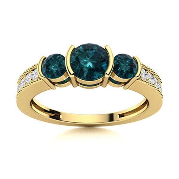 Natural 1.03 CTW Blue & White Diamond Engagement Ring 18K Yellow Gold