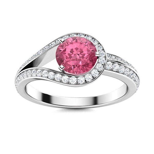 Natural 1.01 CTW Tourmaline & Diamond Engagement Ring 14K White Gold