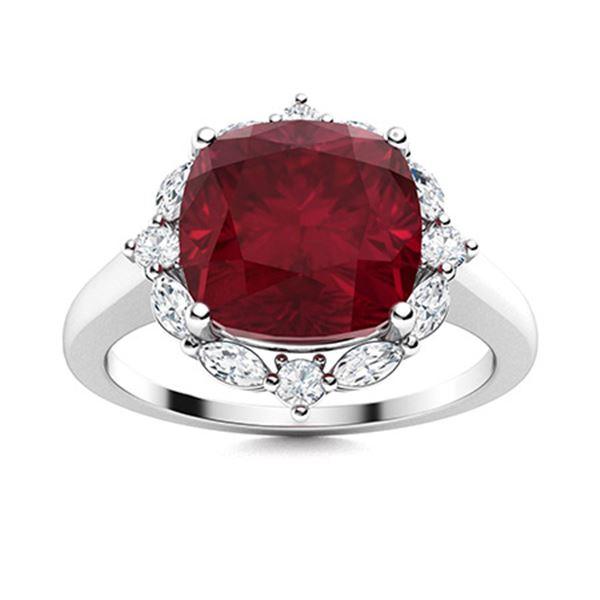 Natural 3.49 CTW Ruby & Diamond Engagement Ring 14K White Gold