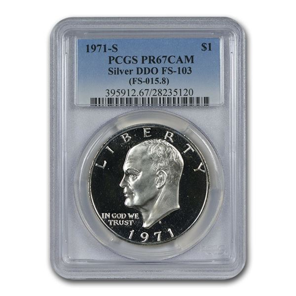 1971-S Silver Eisenhower Dollar PR-67 Cameo PCGS (DDO, FS-103)