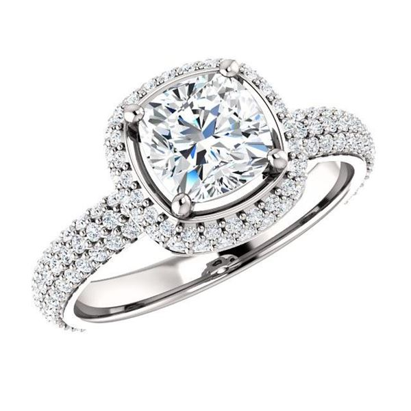 Natural 3.07 CTW Cushion Cut Diamond Halo Engagement Ring 18KT White Gold