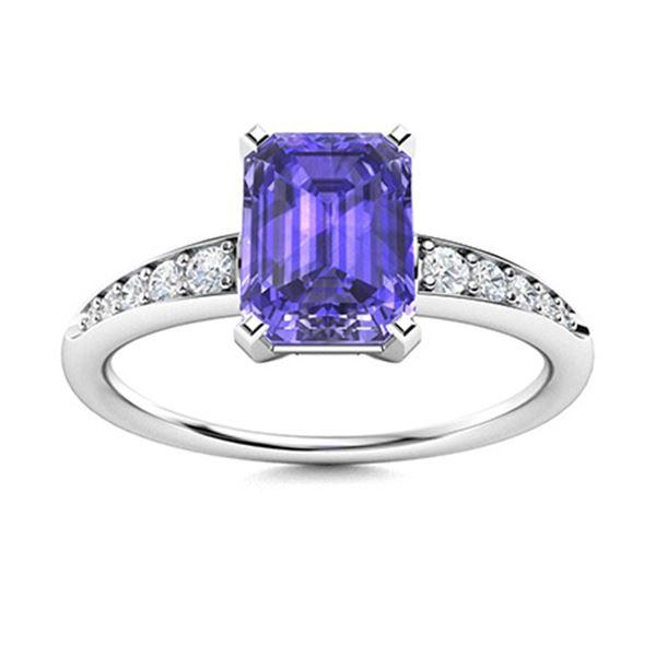 Natural 2.12 CTW Tanzanite & Diamond Engagement Ring 14K White Gold